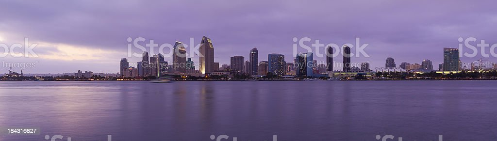Panoramic View of San Diego at Dusk stock photo