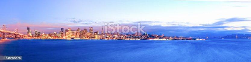 Panoramic view of San Francisco skyline from Treasure Island
