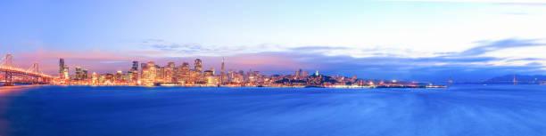 Panoramic view of San Francisco skyline from Treasure Island stock photo