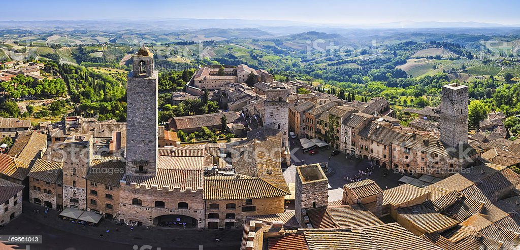 Panoramic view of San Gimignano town in Tuscany stock photo