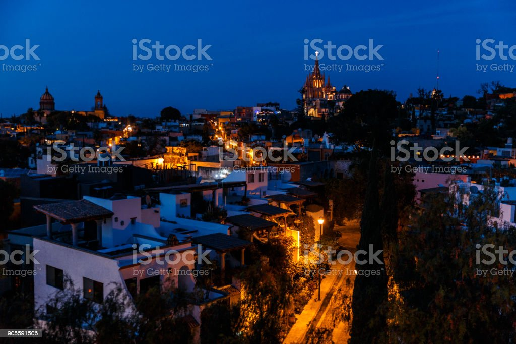 Panoramic View of San Miguel De Allende, at Dusk. stock photo