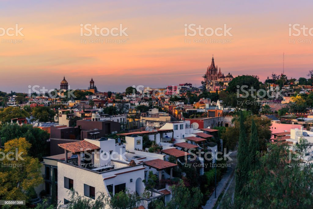 Panoramic View of San Miguel De Allende, at Twilight Time. stock photo