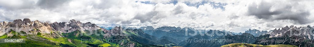 Panoramic view of San Pellegrino Pass (Dolomites) stock photo