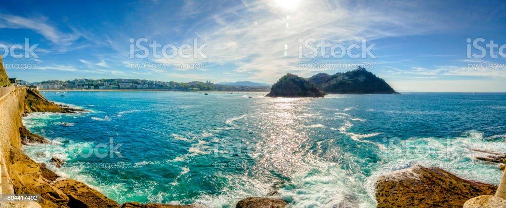 Panoramic view of Santa Clara Island and San Sebastian coastline. Donostia, Basque Country, Spain stock photo