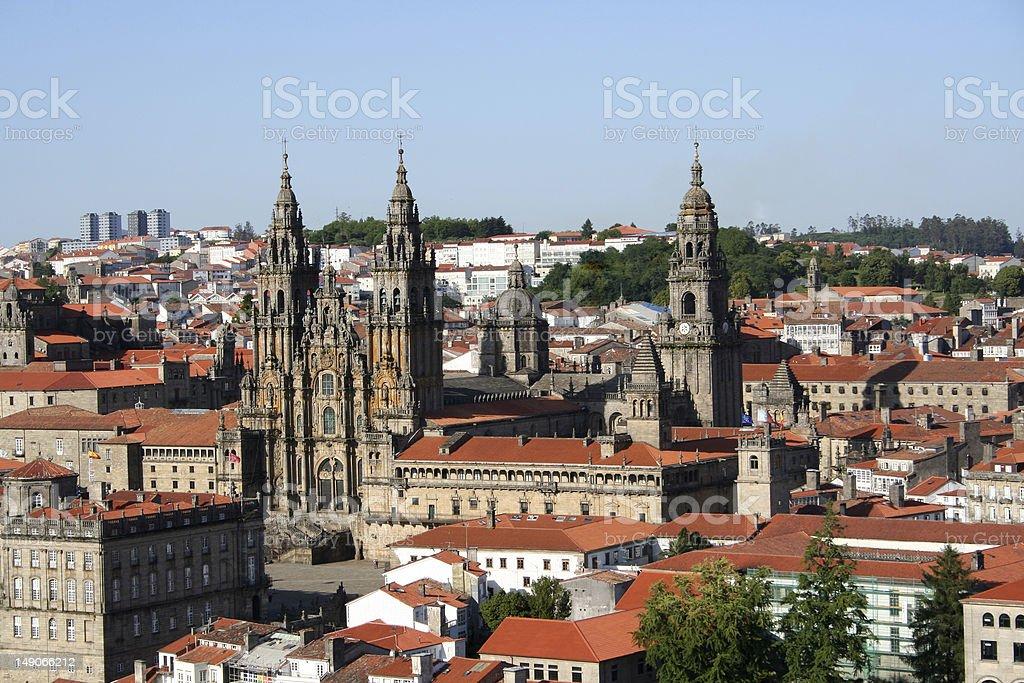 Panoramic view of Santiago de Compostela royalty-free stock photo