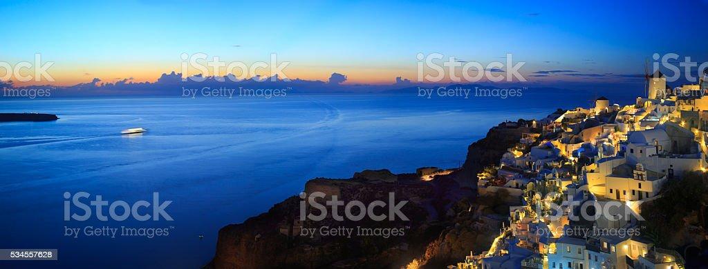 Panoramic view of Santorini at sunset stock photo