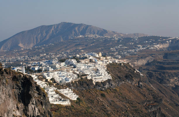 Panoramic view of Santorini, Greece stock photo