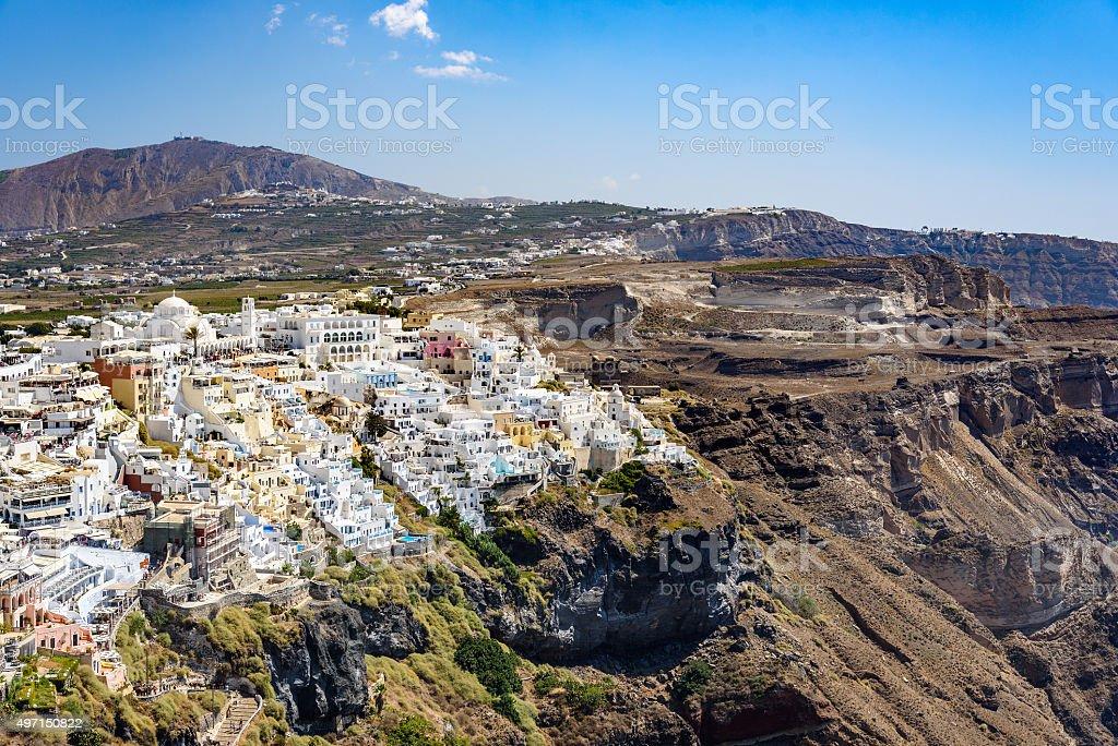 Panoramic view of Santorini  island village and Thira town stock photo