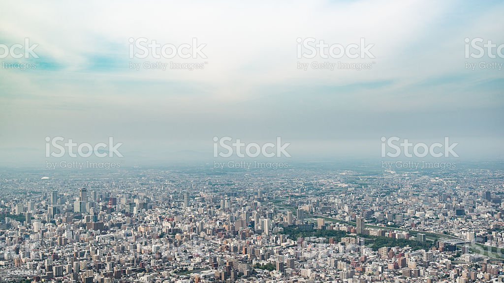 Panoramic view of Sapporo city in the evening of springtime stock photo
