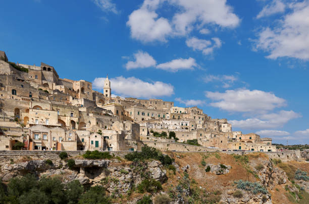 Panoramic view of Sassi di Matera stock photo