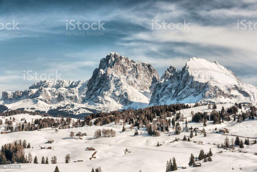 Panoramic view of Sasso Lungo and Sasso Piatto stock photo