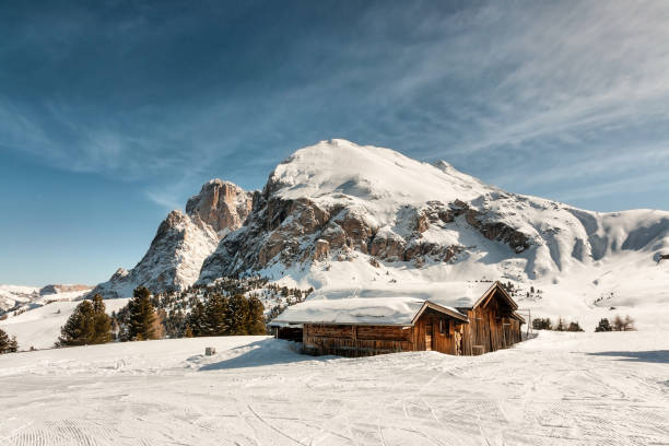 Panoramic view of Sasso Lungo and Sasso Piatto Panoramic view of Sasso Lungo and Sasso Piatto with old wooden hut in foreground chalet stock pictures, royalty-free photos & images