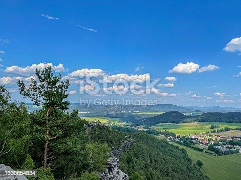 """istock Panoramic view of Saxon Switzerland in Saxony""""n 1330854834"""
