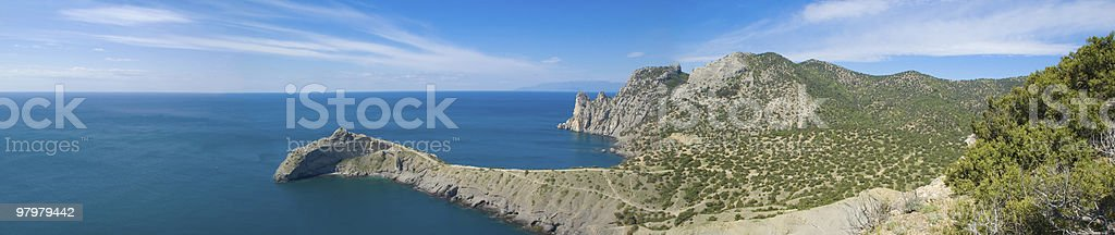 panoramic view of sea and mountain royalty-free stock photo