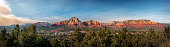 Panoramic view of Sedona shortly before sunset