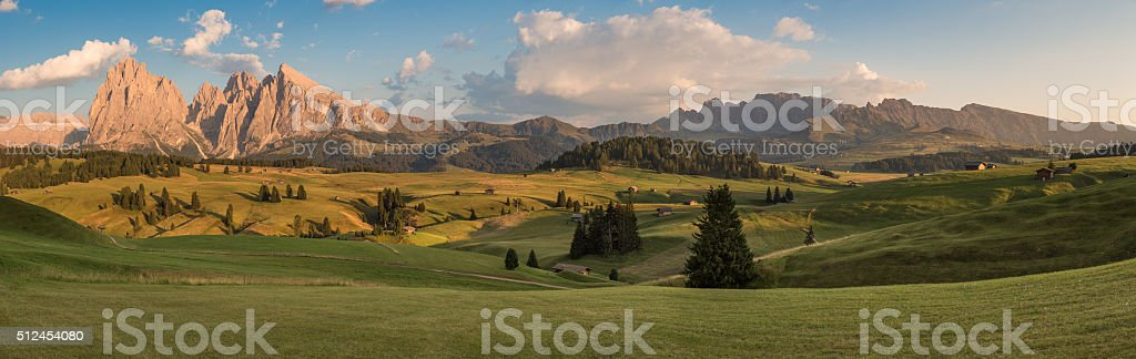 Panoramic View of Seiser Alm with Langkofel, South Tyrol, Italy stock photo