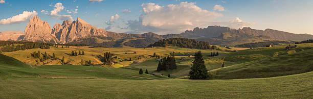 panoramablick auf seiser alm mit langkofel, südtirol, italien - seiser alm stock-fotos und bilder