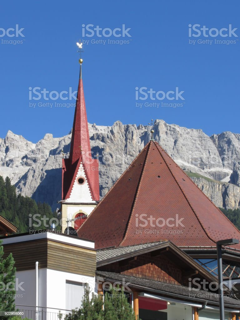 Panoramic view of Selva di Val Gardena, South Tyrol , Alto Adige - Italy with Dolomites background stock photo