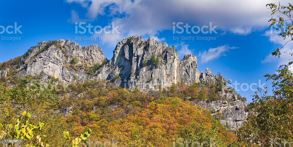 Panoramic view of Seneca Rocks in West Virginia in autumn royalty-free stock photo