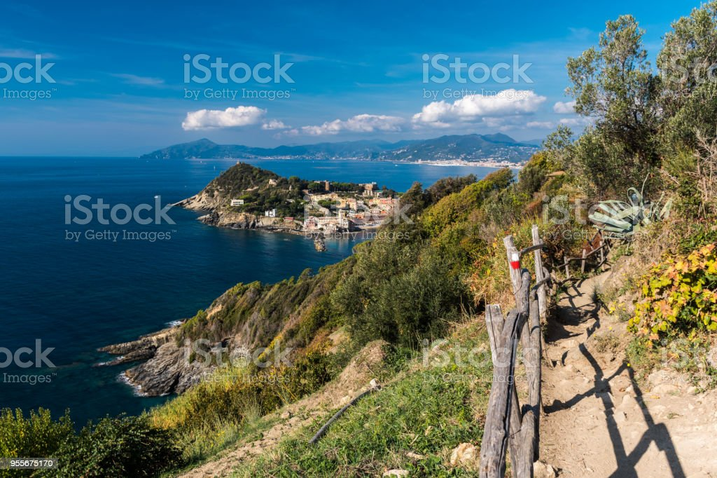 Panoramic view of Sestri Levante and its promontory; coastline of Liguria in the background stock photo