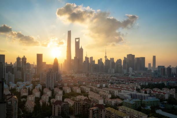 Panoramablick auf Shanghai bei Dämmerung – Foto