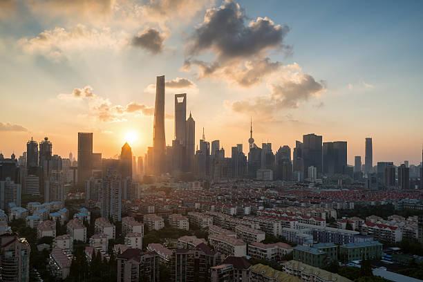 Panoramic View of shanghai at Dusk – Foto