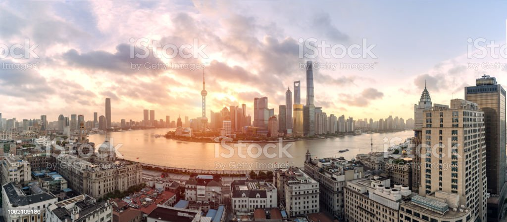 Panoramic view of Shanghai cityscape and skyline at sunrise stock photo