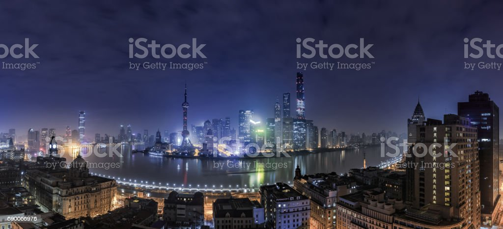 Panoramic view of Shanghai Cityscape at Night stock photo