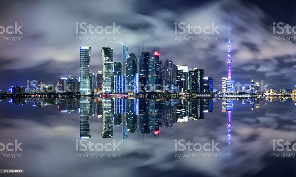 Panoramic view of Shanghai Skyline and Cityscape stock photo
