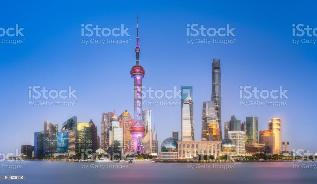 Panoramic view of Shanghai skyline, China stock photo