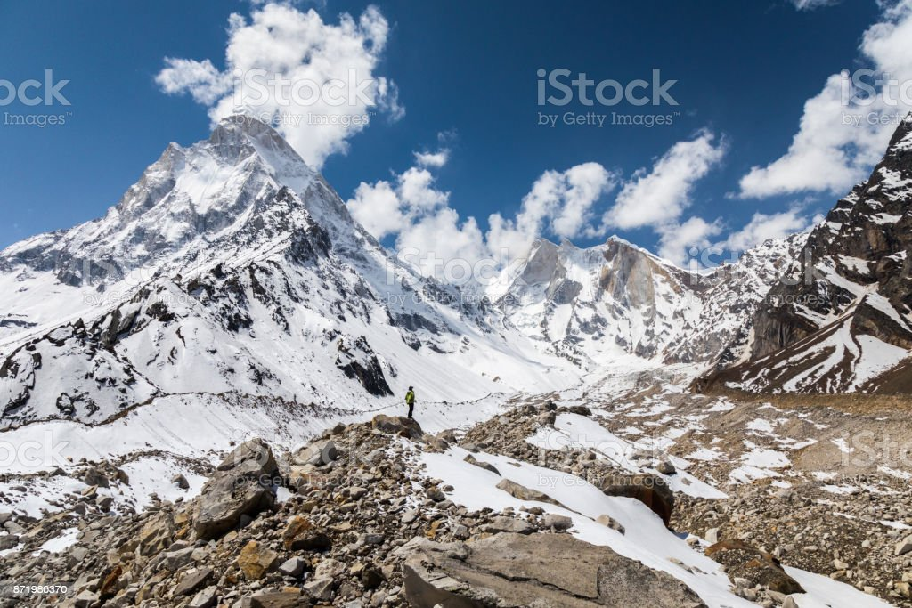 Panoramic view of Shivling and Meru peaks stock photo