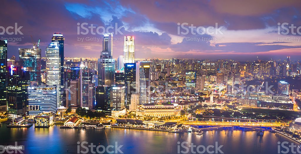 Panoramic View of Singapore at Dusk stock photo