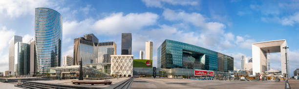Panoramic view of skyscrapers in Paris La Defense district on morning. stock photo