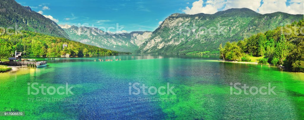 Panoramic view of Slovenian landscape Bohinj Lake,with turquoise water.Triglav National Park, Julian Alps, Slovenia,Europe stock photo