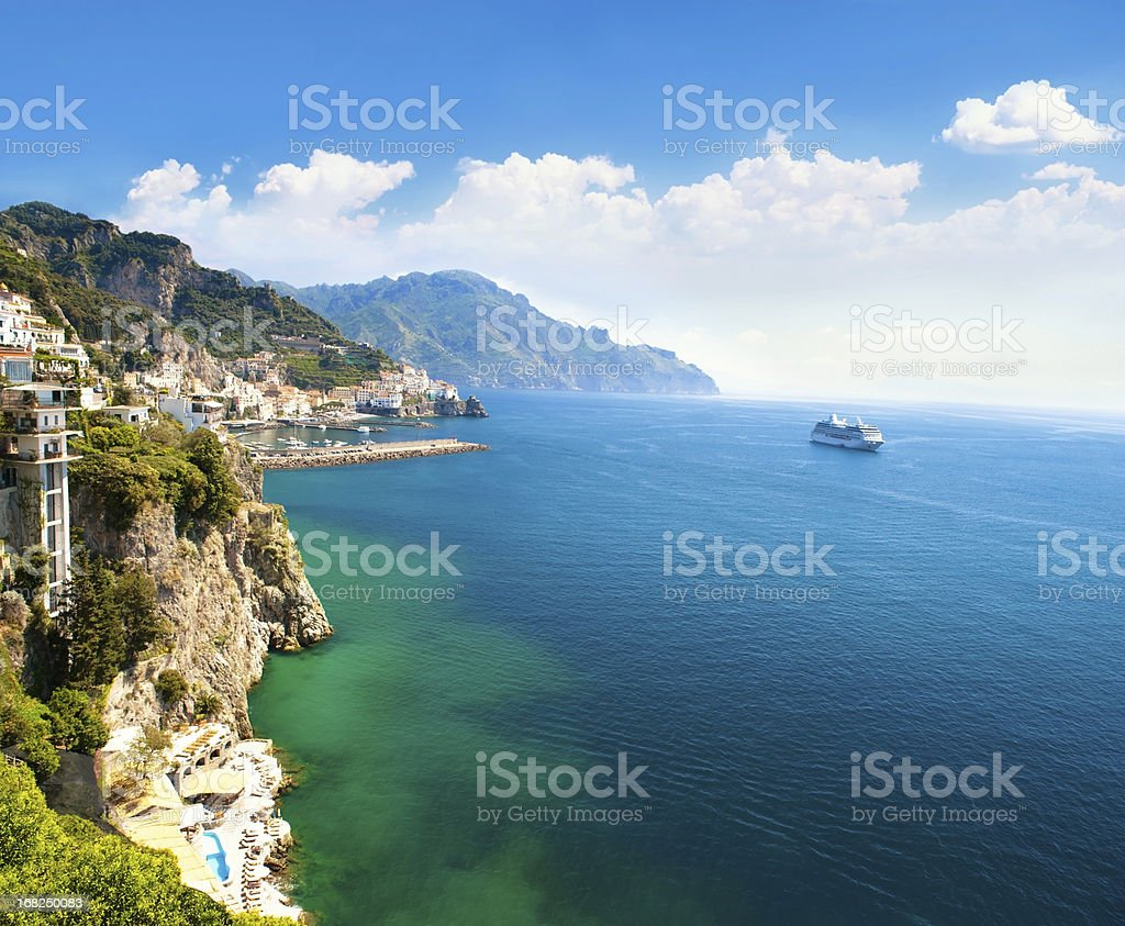 Panoramic view of small town and the sea stock photo