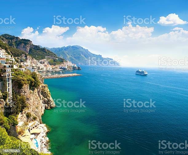 Photo of Panoramic view of small town and the sea