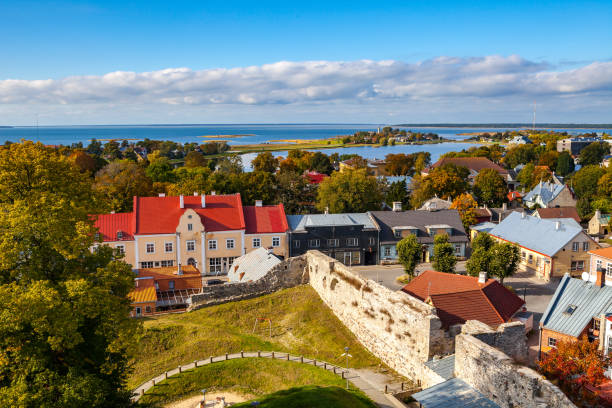 Panoramic view of small town Haapsalu from castle tower, coast of Baltic sea, Estonia stock photo