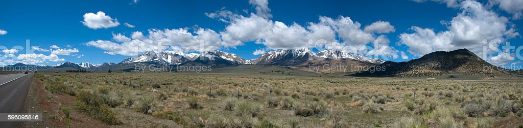 panoramic view of snow covered mountain range in California royalty-free stock photo