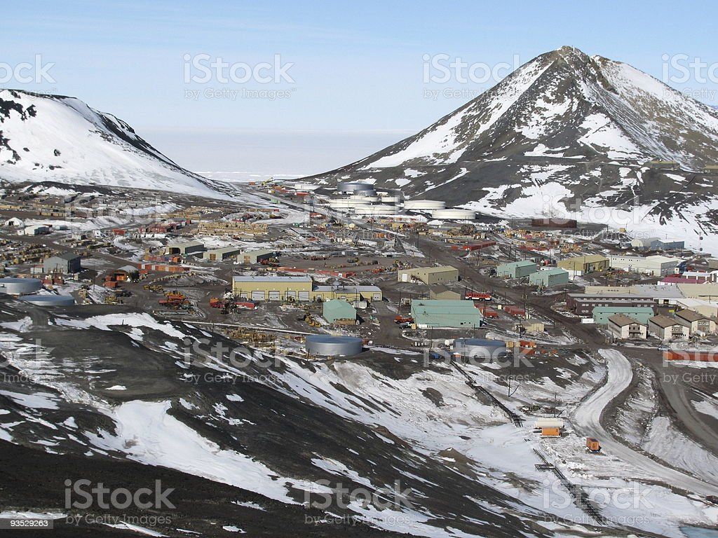 Panoramic view of snowy McMurdo Station, Antarctica royalty-free stock photo