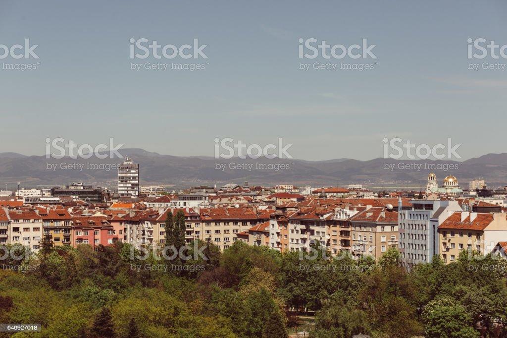 Panoramic view of Sofia stock photo