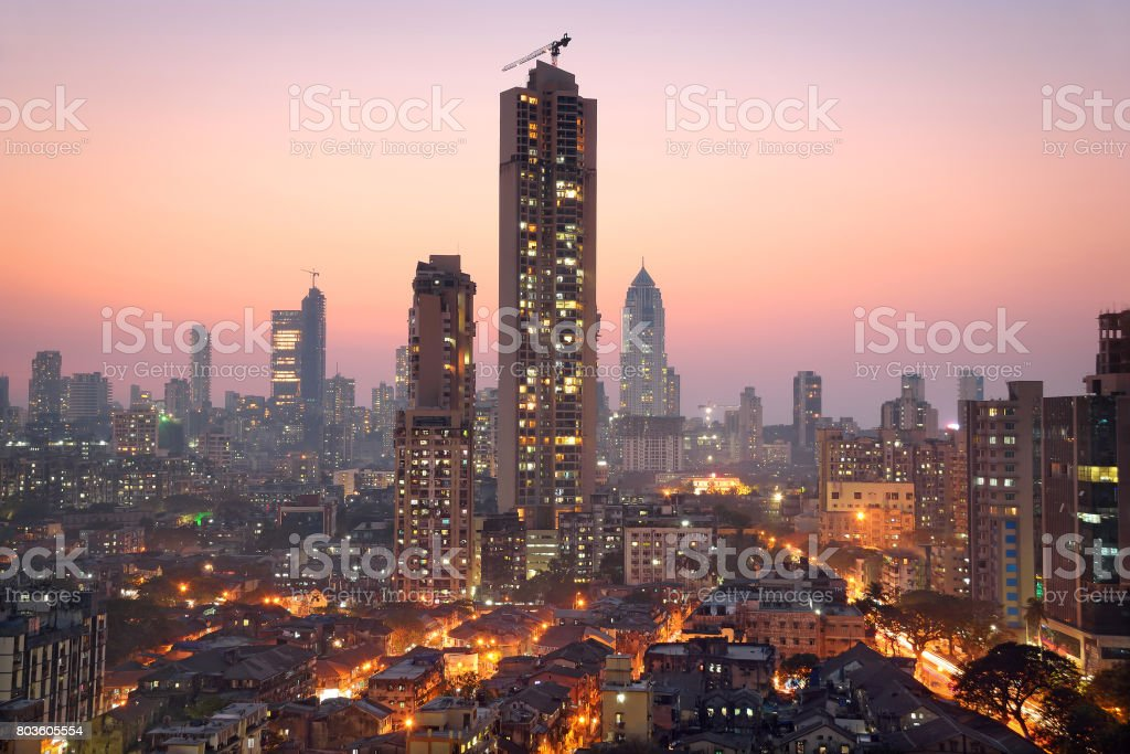 Panoramic view of south central Mumbai at golden hour (dusk) stock photo