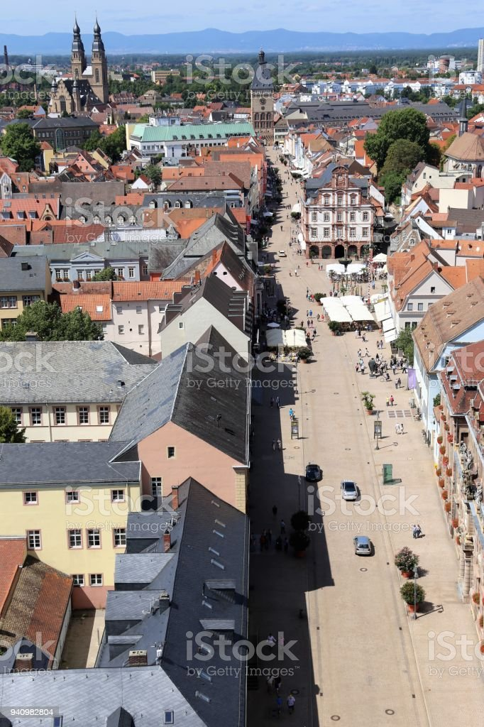 Panoramic view of Speyer, Rhineland-Palatinate stock photo