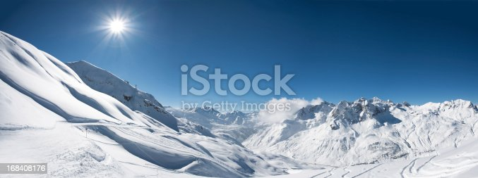 istock Panoramic view of St. Anton am Arlberg ski area 168408176