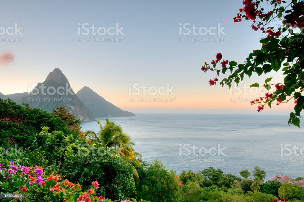 Panoramic view of St Lucias Twin Pitons at Sunrise stock photo