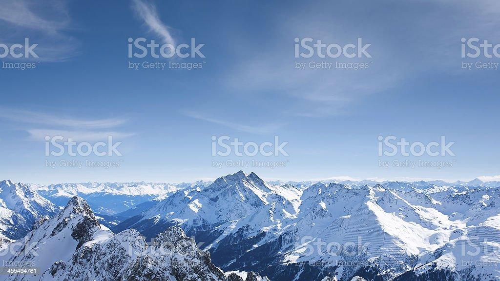 Panoramic view of St.Anton am Arlberg ski area from Valluga stock photo