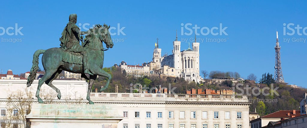 Panoramic view of Statue  and Basilica stock photo