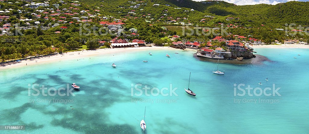 panoramic view of St.Jean Bay in St.Barths, FWI stock photo