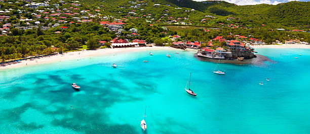 panoramic view of St.Jean Bay in St.Barths, FWI