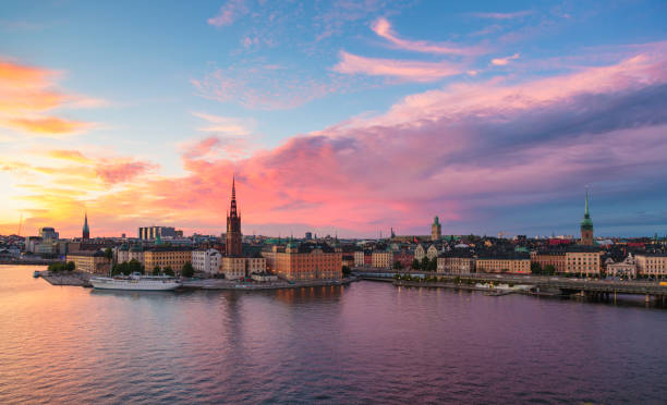 Panoramic view of Stockholm old town. stock photo