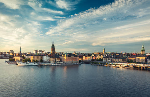 Panoramic view of Stockholm old town, Sweden. Dramatic sky over old town of Stockholm, Sweden. stockholm stock pictures, royalty-free photos & images